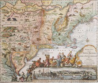 1730 Original Seutter Map New England, NY