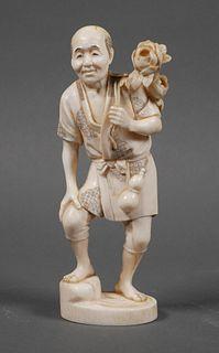 Antique Japanese Carved Ivory Figurine