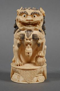 Chinese Foo Dog Carved Ivory Statue
