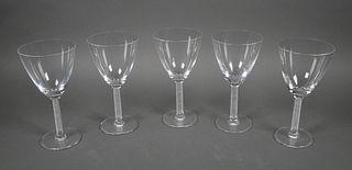 (5) LALIQUE Crystal Phalsbourg Wine Goblets