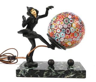 Art Deco LAMP Pixie, Millefiori Ball