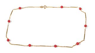 18K GOLD & CORAL Bead Necklace