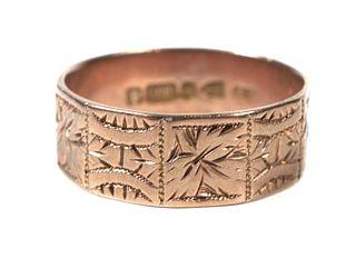 Antique English 9k Gold Ring Band