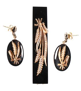 Victorian 14K MOURNING Wheat Pendant & Earrings