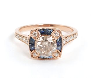 14K Gold DIAMOND & SAPPHIRE Ring
