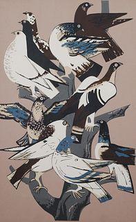 MILLARD SHEETS, Serigraph, Pigeons