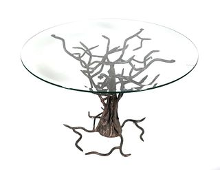 Modern Tree Branch Glass Top Table Wrought Iron