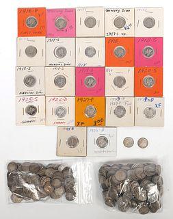 (509) Silver BARBER & MERCURY 10c Dimes