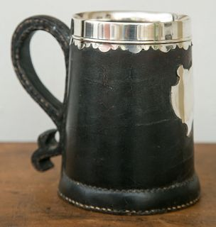 Early English Leather and Silver Tankard