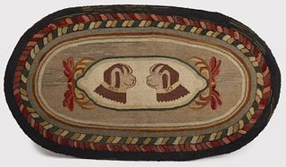 Hooked Rug with Two Dogs