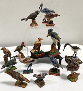 15 Miniature Carved Folk Art Birds
