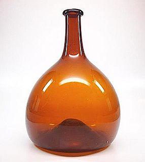 Early Amber Free Blown Bottle