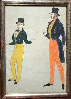 Early Watercolor of Two Dandies