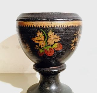 Treen cup Painted & decorated with Strawberries