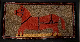 Folk Art Horse Hooked Rug