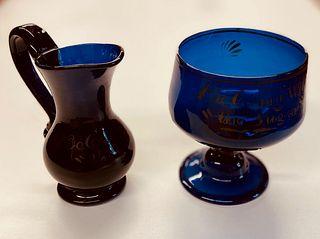 Bristol England Pitcher and Sugar Bowl c 1830