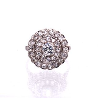 Art Deco Platinum Diamonds Rosetta Ring