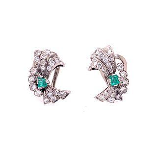 Platinum Diamonds Emerald Retro EarringsÊ