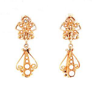 Victorian 14k Gold Pearl Earrings