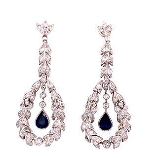 Art Deco Platinum Diamonds Sapphires Earrings