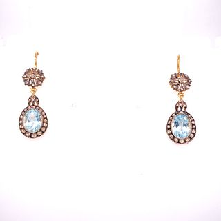 Gold & Silver Aqua Diamonds Earrings