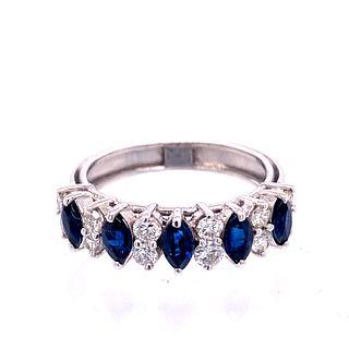 18k Gold Diamonds Sapphires Ring