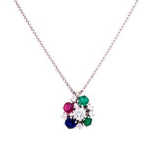 18k Gold Diamonds Sapphires Emerald Rubies Pendant