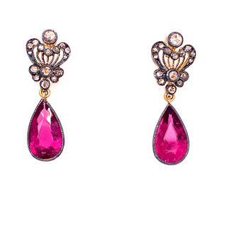 Gold & Silver Turmaline Diamonds Earrings