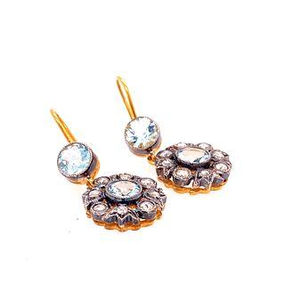 Gold & Silver Aqua Diamonds Rosetta Earrings