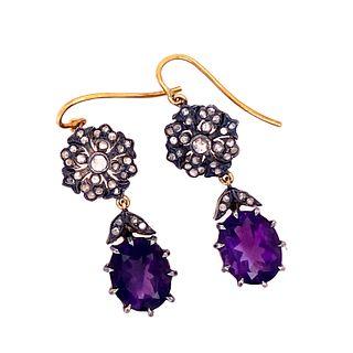 Gold & Silver AmethystÊ DiamondsÊ Earrings