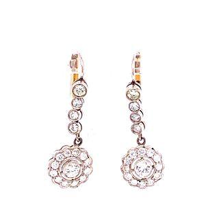 Art Deco Platinum Diamonds Rosetta EarringsÊ