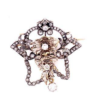 Victorian 18k Gold Diamonds Brooch