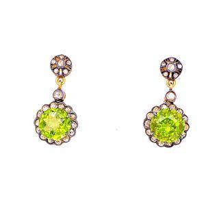 Gold & Silver Peridot Diamonds Rosetta Earrings