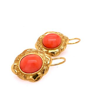 Victorian 24k Gold Coral Earrings