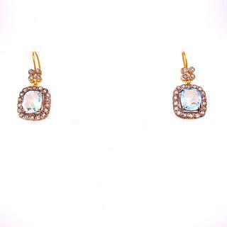 Gold & Silver Aquas Diamonds Earrings