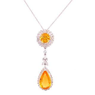 14k-18k Gold Citrine Diamonds PendantÊ