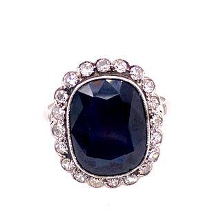 Art Deco Platinum Sapphire Diamonds Rosetta Ring