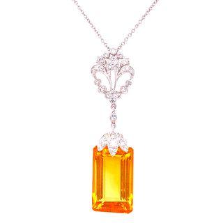 18k Gold Topaz Diamonds Approx Pendant