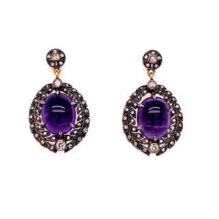 Gold & Silver Amethyst Diamonds Earrings