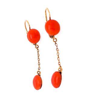 18k Gold Coral Earrings