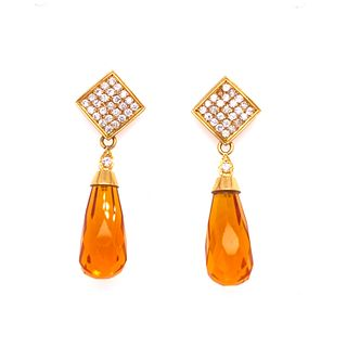 18k Gold Topaz Diamonds Contemporary Earrings