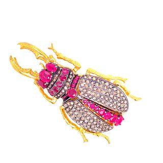 Silve & Gold Rubies Diamonds Movable Scarab Brooch