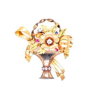 Art Deco 18k Gold Platinum Diamonds Basket Brooch