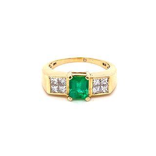 14k Gold, Diamonds & Emerald Ring