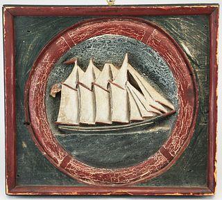 Carved American Schooner Plaque