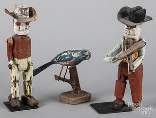 Pair of painted articulated cowboy figures, etc.
