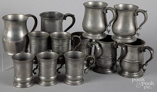 Twelve English pewter measures, 19th c.