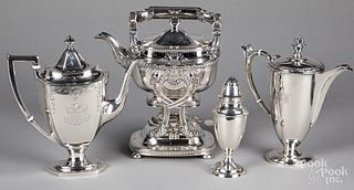 Two sterling silver teapots and a shaker