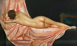 Gustave Brisgand, Nude reclining on pink fabric