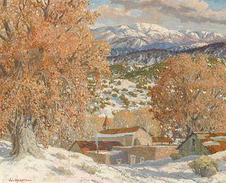 Carl Von Hassler | Northern New Mexico Village Winter Scene